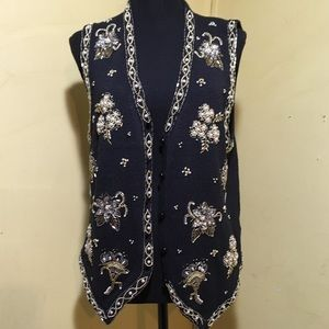 Yarnworks vest embellished with gold & white beads